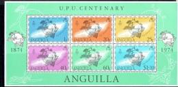 1974  UPU Centenary  Souvenir Sheet Of 6 Different  ** - Anguilla (1968-...)