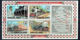 1984  20th Ann Swazi Railways Locomotives, Wagons, Map  Souvenir Sheet ** - Swaziland (1968-...)