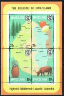 1977  Map  Of Country And Timbre, Produce, Cattle  Souvenir Sheet Of 4 Different ** - Swaziland (1968-...)