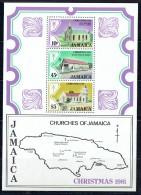 1981  Christmas Churches  Map  Miniature Sheet Of 3 ** - Jamaica (1962-...)