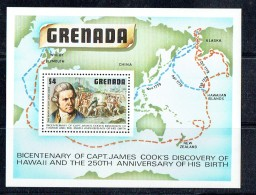 1978  Capt. Cook's Discovery Of Hawai Islands  Souvenir Sheet ** - Grenade (1974-...)
