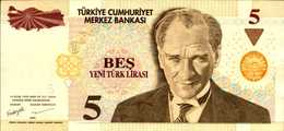 TURQUIE 5 LIVRES De 2005  Pick 217  AU/SPL - Turquie
