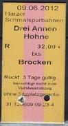 Deutschland Fahrkarte - Harzer Schmalspurbahnen - Drei Annen Hohne - Brocken - Eisenbahnverkehr