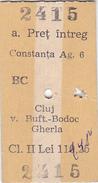 Tickets Billets 1996 RAILWAY, FAST TRAIN CONSTANTA CLUJ - CLASS 2, ROMANIA. - Spoorwegen
