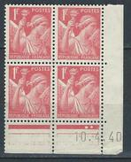 """Coins Datés YT 433 """" Iris 1F.00 Rouge """" Neuf** Du 10.4.40 - 1940-1949"""