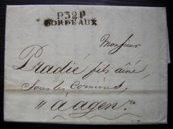 1810 Port Payé De Bordeaux  Sur Lettre Très Intéressante Pour Pradié Fils Sous Les Cornières à Agen (baptême) - 1801-1848: Vorläufer XIX