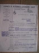 Lettre 1940 MARCHIENNE-AU-PONT - USINES & ACIERIES LEONARD-GIOT - Moulages D'acier - Non Classés