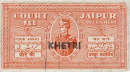 INDIA KHETRI (JAIPUR) PRINCELY STATE 4-ANNAS COURT FEE STAMP 1940-45 GOOD/USED - Jaipur