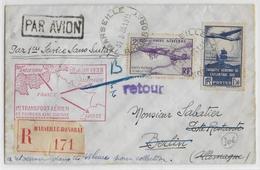 1938 - POSTE AERIENNE - ENVELOPPE Par AVION RECOMMANDEE De MARSEILLE à BERLIN - 1° TRANSPORT AERIEN SANS SURTAXE - 1927-1959 Lettres & Documents