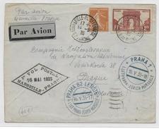 1935 - POSTE AERIENNE - ENVELOPPE Par AVION De MARSEILLE à PRAGUE (TCHECOSLOVAQUIE) - 1° VOL Via ZÜRICH RARE - Poste Aérienne