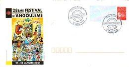 H482   Cachet Sur Enveloppe Souvenir Du Festival De La Bande Dessinée 2001 Angoulême - Postmark Collection (Covers)