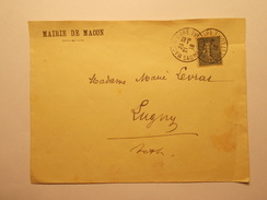 Marcophilie - Lettre Enveloppe Obliteration Timbre - Mairie De MACON (71) Macon Gare 1918 (955) - Marcophilie (Lettres)