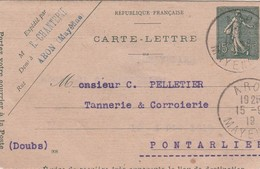 Entier 1919 / Carte Lettre E. CHANTEPIE / 53 Aron Mayenne - Cartes
