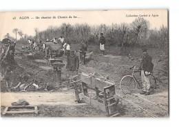 CPA 50 Agon Chantier Du Chemin De Fer Ligne De Coutances Lessay - France