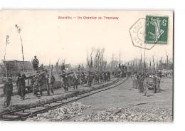 CPA 50 Gouville Le Chantier Du Tramway Ligne De Coutances Lessay - France