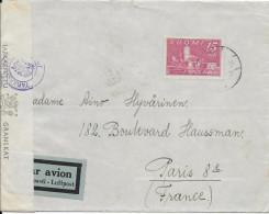 FINLANDE - 1945 - ENVELOPPE Par AVION Avec CENSURE => PARIS - Finland