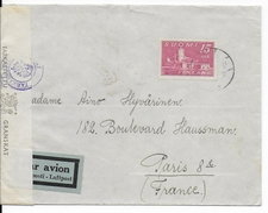 FINLANDE - 1945 - ENVELOPPE Par AVION Avec CENSURE => PARIS - Briefe U. Dokumente