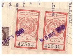 Napoli. 1949. Marca Diritti Di Segreteria CAMERA DI COMMERCIO L. 9, Coppia, Su Documento - Italia