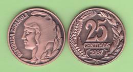 VERY RARE!!! SPAIN / 2º REPUBLIC (1.931-1.939) 25 Céntimos 1.937 Tipo 2 Cobre Aledon 195 PM3 Réplica SC/UNC  T-DL-12.093 - [2] 1931-1939: Zweite Republik