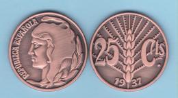VERY RARE!!! SPAIN / 2º REPUBLIC(1.931-1.939) 25 Céntimos 1.937 Tipo 3-ESPIGA  Aledon 195 PM2 Réplica SC/UNC T-DL-12.094 - [ 2] 1931-1939 : Repubblica