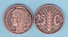 VERY RARE!!! SPAIN / 2º REPUBLIC(1.931-1.939) 25 Céntimos 1.937 Tipo 3-ESPIGA  Aledon 195 PM2 Réplica SC/UNC T-DL-12.094 - 25 Centimos
