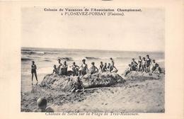 29-PLONEVEZ-PORSAY- COLONIE DE VACANCES DE L'ASSOCIATION CHAMPIONNET, CHATEAU DE SABLES SUR LA PLAGE DE TREZ-MALAOUEN - Plonévez-Porzay