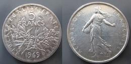 5 Francs Semeuse 1969 Argent SUP - France