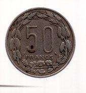REF 1  : Monnaie Coin 50 Francs CFA Banque Centrale Centrafricaine Congo Gabon Tchad - Congo (Democratic Republic 1964-70)