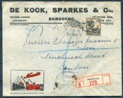 1933 Netherlands Indies, De Kock, Sparkes & Co. Ship Illustrated Registered Bandoeng Cover - Fenchurch Street, Londo - Netherlands Indies