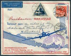 1937 Netherlands Indies K.N.I.L.M. Douglas Batavia Illustrated Flight Airmail Cover. Soerabaja - Makasser - Netherlands Indies