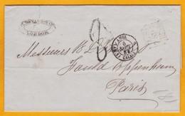 1854  LAC De Londres, Royaume Uni Vers Paris, France - Entrée Par Calais Ambulant - Cad Arrivée Le Lendemain !!!! - 1849-1876: Période Classique