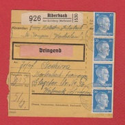 Colis Postal  --  Départ Biberbach  -- 04/03/1943 - Deutschland