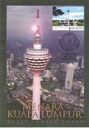 22C : Carte Maximum Card, Malaysia Kuala Lumpur Tower, Telecommunication Broadcast Minaret, Maxicard,MC - Monuments