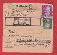 Colis Postal  --  Départ Schiffweiler -- 2/3/1943 - Allemagne