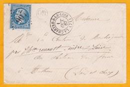 1867  - OR - Enveloppe De La Chartre Sur Le Loir Vers Authon, Loir Et Cher  - Cad Transit à Château-Renault Puis Tours - 1863-1870 Napoleon III With Laurels