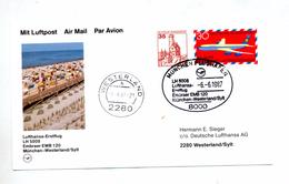 Carte   Premier Vol  Lufthansa Munich Westreland - Airplanes