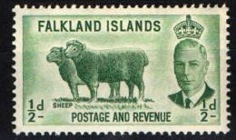 FALKLAND - 1952 - RE GIORGIO VI  E PECORE - NUOVO MNH - Falkland