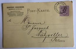 POSTKARTE Privée De BROMBACH Pour NATZWILLER En 1886 - Stamped Stationery