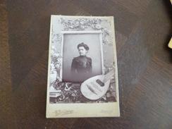Photo 19 ème Romans E.Blanchard Montage Femme Et Mandoline 10.7 X 16.4 - Oud (voor 1900)