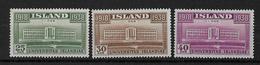 ISLANDE - 1938 - YVERT N° 168/170 * - COTE = 27 EURO - Neufs