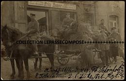 TOP RARE AMANVILLERS AMANWEILER - ATTELAGE ET SOLDATS ALLEMANDS DEVANT LA CHARCUTERIE EPICERIE FRITZ BOHRER AVRIL 1915 - France