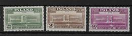ISLANDE - 1938 - YVERT N° 168/170 ** MNH - COTE = 40.5 EURO - Neufs