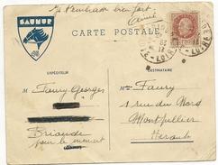 France Carte Postale Des Chantiers De Jeunesse 45 Saumur (gard) Du 28 6 1943 , Avec Petain - Postmark Collection (Covers)