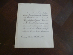 Faire Part Mariage Belgique Oostcamp 4/10/1887 Alice Peers/ Gaston Moeremans. Familles Peers Nieulant Pottelsberghe... - Mariage