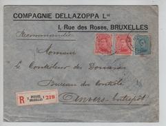 TP 138(2)-141 S.L.recommandée Avec En-Tête Compagnie Dellazoppa Rue Des Roses BXL 3/4/19 PR4553 - Postmark Collection