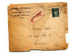 Lettre Recommandee Lyon Flamme Muette Sur Petain - Marcophilie (Lettres)
