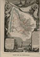 1849 Département De La GIRONDE Belles Illustrations Gravées .(Les Reflets éventuels Sont Dûs à La Protection Plastique) - Cartes Géographiques