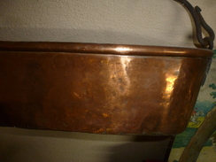 Rare Ustensile Ancien Pour Cuisson Du Poisson (cuivre Massif) Assemblé Par Brasure-créneaux (principe Utilisé XVIIIe) - Rame