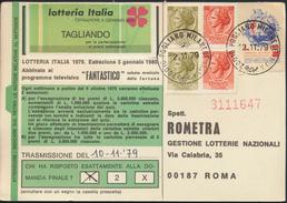 °°° CARTOLINA LOTTERIA 1980 - AFFRANCATURA MISTA  CON FRANCOBOLLI TUBERCOLOSI  °°° - Biglietti Della Lotteria