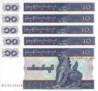 MYANMAR 10 KYATS ND (1995) P-71b UNC THICK PAPER 5 PCS [MM105b] - Myanmar
